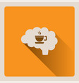 brain thinking of a cup of coffee on yellow vector image vector image