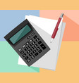 calculator and pen vector image vector image