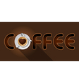 coffee word with top view of Cappuccino cup vector image vector image