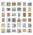 cupboard and cabinet interior furniture filled vector image vector image