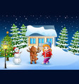 cute little girl with a deer in front of snowy hou vector image vector image