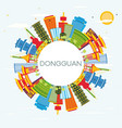 dongguan china city skyline with color buildings vector image