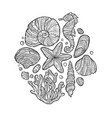 doodle seashell set in zentangle inspired style vector image