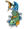 drawn chinese fish swimming in the water vector image