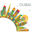 dubai uae city skyline with color buildings and vector image vector image
