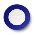 Empty blue plate isolated on white background vector image vector image