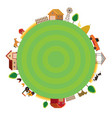 farm with animals and objects round frame vector image