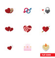 flat icon amour set of key fire wax soul and vector image vector image