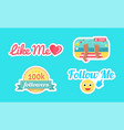 follow and like me seaside set stickers vector image vector image