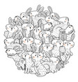 funny rabbits circle shape pattern for coloring bo vector image