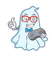 gamer cute ghost character cartoon vector image vector image