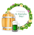 Glass of green beer and wooden barrel vector image vector image