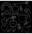 hand drawn doodles collection vector image vector image