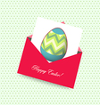happy easter card with envelope egg vector image vector image