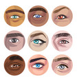 human eyes various colors in circles collection vector image vector image