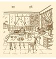 Kitchen Interior Sketch vector image vector image