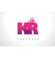 kr k r letter logo with pink purple color and vector image