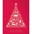 Merry christmas happy new year pine tree deer card vector image vector image
