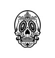 mexican skull face tattoo mascot silhouette vector image