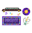 night club or disco party flat icons vector image