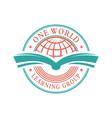 one word education logo emblem vector image