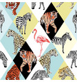 patchwork tropical animals and bird multicolor vector image vector image