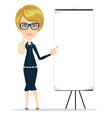 portrait of the business woman with a poster vector image vector image