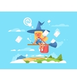 Postal fairy on a broom vector image