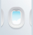 realistic detailed 3d airplane window with blue vector image