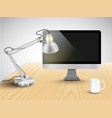 realistic office desk with different objects vector image vector image