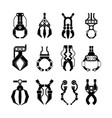 robotic grips claws silhouette set arcade vector image