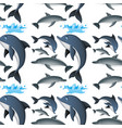 seamless background with happy dolphins vector image