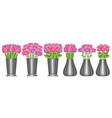 set flowers in vases vector image