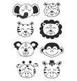 set isolated tropical black animal faces vector image vector image