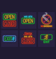 set of neon service signs vector image vector image