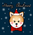 shiba inu santa claus dog greeting card vector image vector image