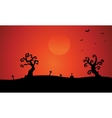 Silhouette of dry tree tomb halloween vector image vector image