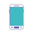 smartphone front view icon in blue and purple vector image vector image