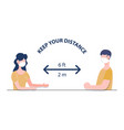 social distancing concept two people keep vector image vector image