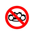 stop brass knuckle no weapon robber red vector image vector image