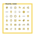 Travel and transportation flat design icon set vector image