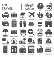 travel glyph signed icon set vacation symbols vector image