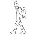 traveler and backpacker hand drawn vector image