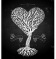Tree crown like heart on black vector image vector image
