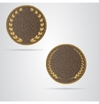 Two brown round leather VIP tag with gold laurel vector image vector image