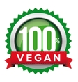 Vegan badge with red ribbon vector image vector image