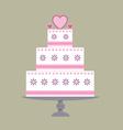 Wedding cake pink ribbon vector image vector image
