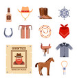 wild west elements set icons cowboy rodeo vector image vector image