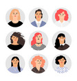 woman face avatar portraits vector image