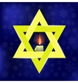 Yellow Star of David and Burning Candles vector image vector image